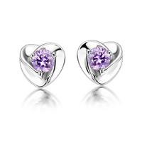 Super flash Swiss Diamond Amethyst stud&amp;earring