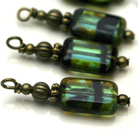 Teal Picasso Tortoise Czech Bead Dangle Charm Drop Set - 4 Piece Set