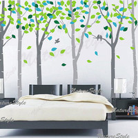 wall decals nursery wall decal baby wall decal children vinyl wall decal girl bedroom  boy decal - 6 Birch Trees with Colorful leaves