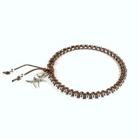 Bangle Bracelet Cotton and Bead Wrapped Brown Silver Friendship Charm