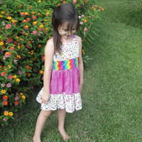 Girls Pink ruffled sun dress size 3  spring/summer
