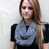 Leopard Infinity Scarf, Loop Scarf, Circle Scarf, Black, Cream, Brown