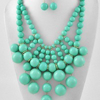 Sassy Chunky Bubble Turquoise Mint Green Bead Statement Bib Necklace Set Jewelry