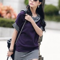 Autumn Style Purple Loose Long T-shirt