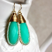 NEW  mint earrings - lovely rich mint with wire coils