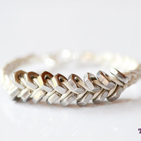 TINNLILY Ivory Leather and Steel Hex Nut Bracelet by TINNLILY
