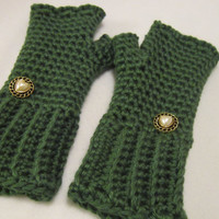Crochet Dark Sage Fingerless Gloves Mittens Size Small to Medium