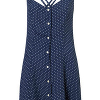 Spot Strappy Button Sundress - Fit &amp; Flare Dresses - Dresses - Clothing - Topshop