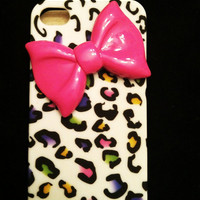 iPhone 4 and iPhone 4S Trendy Rainbow Leopard Design with Hot Pink Bow case