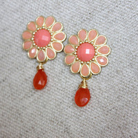 NEW post flower earrings - lovely post with orange chalcedony