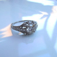 Vintage Edwardian Diamond Platinum Engagement by RiordanStudio