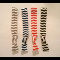 4 Elastic CHEVRON HAIR TIES, Black, Silver, Red, Navy Blue No Tug, Dent, Gifts Under 10 - Only 2 Sets Left In Stock