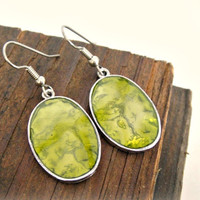 Silver and Green Earrings Dangle Earrings by shopkim