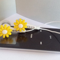 Tiny Yellow Daisy Flower earbuds with Swarovski crystals