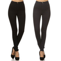 New! High Waist Hot Fashion Trends Skinny Jean Pants Size 1 ~ 15 BLACK NAVY