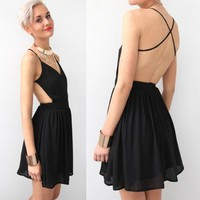 BLACK LBD CROSS STRAPS BACKLESS OPEN BACK COCKTAIL DRESS XS M L 6 8 10 12