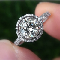 PLATINUM 1.00 carat Round - Double Halo - Pave - Antique Style - Diamond Engagement Ring - Weddings- Luxury - Bp019