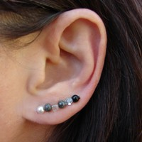 Ear Pins - Gunmetal, White Swarovsk.. on Luulla