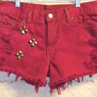 Levis Hand Dyed Studded Denim Cut Off Shorts -LOW RISE Sz 9