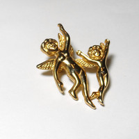 Vintage Jewelry Brooch gold tone cherubs  costume jewelry pin Valentines Day mother child