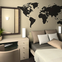 Wall Decal - World Map with Continents Vinyl Wall Decal Sticker B0904