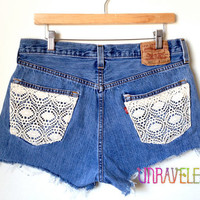 High Waisted Lace Shorts (LARGE) // 2023