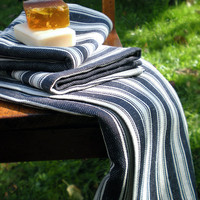 2 Linen Towels  Soft Striped Navy Blue And by LinenLifeIdeas