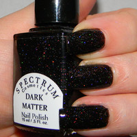 Black Holographic Glitter nail Polish DARK by SpectrumCosmetic