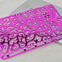 IPad Mini Case - Handmade Luxury Lovely Pink Bling Crystal Rhinestones Hollow Pattern Hard Back Chrome Case Cover for iPad Mini