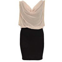 Beige chiffon cowl neck 2 in 1 dress
