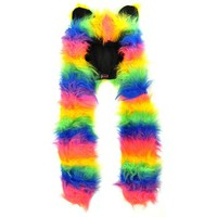 Insanity Rainbow Furry Hood Hat