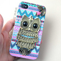 OWL,leaf,flower,Aztec Tribal iphone case,iphone 4,4s case,iphone4,4s ,iphone hard case