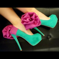 Fuschia Flower and Chiffon Heel Condom