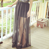 Double Side Slit Sheer Maxi Skirt
