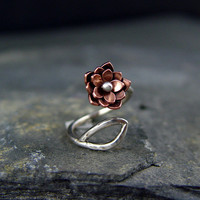 Lotus Blossom Adjustable Ring Gifts for Her Silver by HapaGirls
