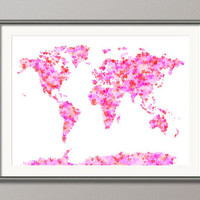 Love Hearts Map of the World Map Art Print on Etsy