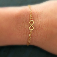 Gold Infinity Bracelet Tiny Charm Minimalist Jewelry Designer Inspired bridesmaid gifts Sorority Gifts