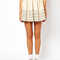 Dahlia PU Skirt with Cutwork Detail at asos.com
