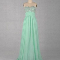 Gorgeous A-line Sweetheart Sleeveless Floor-length Chiffon Prom Dress