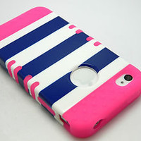 iPhone 4 4S Phone Hybrid Rocker 3in1 Heavy Duty Blue Stripes Cover+Hot Pink Case