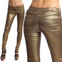 MOGAN Coated Metallic GOLD SUPER SKINNY JEANS 5 Pocket Low Rise Liquid Jeggings