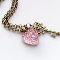 Key to my heart rhinestone necklace by JeSuisPrettyful - PINK
