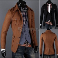 Sho Fashion Mens Button Design Slim Casual Jacket Wool Coat Tops Brown M~XXL J51