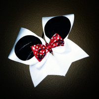 Minnie Mouse White Black and Red 3 Cheer Bow by ElisesPiecesBows