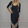 MVB 3/4 Sleeve Navy and Cream Lace Maxi Dress
