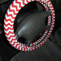 Red and White Chevron Steering Wheel Cover