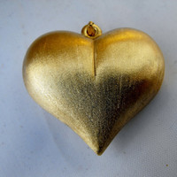 Satin Gold Puffy Heart Pendant by GiltyGirlVintage on Etsy