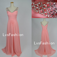 A Line Straps with Crystal Chiffon Pink Prom Dresses, Homecoming Dresses Evening Dresses, Evening Gown, Bridesmaid Dress, Party Dresses