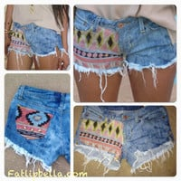 Pre order BOHO Studded Tribal Aztec Print cut off shorts,  low rise
