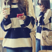 Retro Womens Striped Pullover Sweater Jumpers Knitting Knit Top